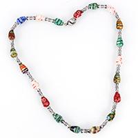 Ожерелья лемпворк, Лэмпворк, с цинковый сплав, Платиновое покрытие платиновым цвет, Женский & с фрагментом миллефиори & золотой песок, 12x8x8mm, 11x5x5mm, длина:Приблизительно 18 дюймовый, 5пряди/Лот, продается Лот