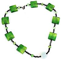 Ожерелья лемпворк, Лэмпворк, с Нейлоновый шнурок & Кристаллы & Морской опал, цинковый сплав Замочек-колечко, Другое покрытие, Женский & граненый & серебрянная фольга, 14x18x18mm, 20x20x5.5mm, 4x4x4nmm, длина:Приблизительно 19 дюймовый, 5пряди/Лот, продается Лот