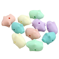 Силиконовые шарики, Силикон, Свинья, Одобрение FDA, Много цветов для выбора, 12x15x21mm, отверстие:Приблизительно 2mm, 100ПК/сумка, продается сумка