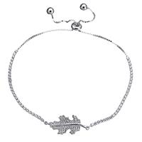 Серебро 925 пробы браслет, Листок, регулируемый & Женский & с кубическим цирконием, 28x12mm, 2x2mm, длина:Приблизительно 5.7-11 дюймовый, 5пряди/Лот, продается Лот