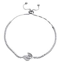 Серебро 925 пробы браслет, Листок, регулируемый & Женский & с кубическим цирконием, 19x10mm, 2x2mm, длина:5.3-9.2 дюймовый, 5пряди/Лот, продается Лот