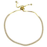 Серебро 925 пробы браслет, плакированный настоящим золотом, регулируемый & Женский & с кубическим цирконием, 2x2mm, длина:6-10 дюймовый, 5пряди/Лот, продается Лот