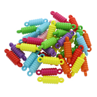 Акриловые соединители, Акрил, 1/1 петля & ровный цвет, разноцветный, 33x10mm, отверстие:Приблизительно 2.5mm, 500G/сумка, продается сумка