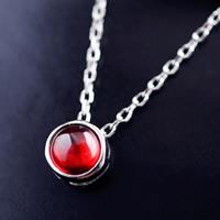 Серебро 925 пробы Ожерелье, с красный агат, Овальный цепь & Женский, 7mm, 5mm, Продан через Приблизительно 16 дюймовый Strand