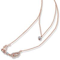 Кубический циркон микро проложить латуни ожерелье, Латунь, Форма крыла, плакированный цветом розового золота, Овальный цепь & инкрустированное микро кубического циркония & двунитевая, не содержит никель, свинец, 20x11mm, длина:Приблизительно 16.5 дюймовый, 3пряди/Лот, продается Лот