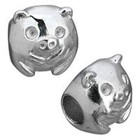Европейские стильные бусины из нержавеющей стали, нержавеющая сталь, Свинья, оригинальный цвет, 11x10x11mm, отверстие:Приблизительно 4mm, 10ПК/Лот, продается Лот