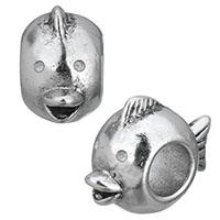 Европейские стильные бусины из нержавеющей стали, нержавеющая сталь, Рыба, чернеют, 8.50x13x17mm, отверстие:Приблизительно 5.5mm, 10ПК/Лот, продается Лот