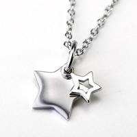 Серебряное ожерелье, Серебро 925 пробы, Звезда, Овальный цепь & Женский, 11x15mm, 1.5mm, Продан через Приблизительно 18 дюймовый Strand