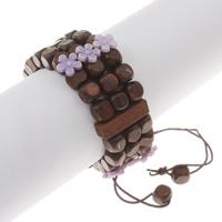 Деревянные браслеты, деревянный, с канифоль, крашеный & регулируемый, 24x6.5mm, Продан через Приблизительно 7 дюймовый Strand