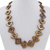 Ожерелье из ракушки, Белая ракушка, с цинковый сплав, с 5cm наполнитель цепи, Платиновое покрытие платиновым цвет, крашеный & Женский, 5-25x24x3.5mm, Продан через Приблизительно 20 дюймовый Strand