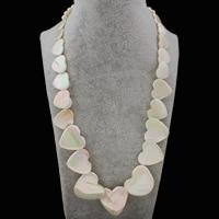 Ожерелье из ракушки, Белая ракушка, с цинковый сплав, с 5cm наполнитель цепи, Сердце, Платиновое покрытие платиновым цвет, Женский, 6-27x28x5.5mm, Продан через Приблизительно 18 дюймовый Strand