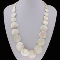 Ожерелье из ракушки, Белая ракушка, с цинковый сплав, с 7cm наполнитель цепи, Плоская круглая форма, Платиновое покрытие платиновым цвет, Женский, 6-30x5mm, Продан через Приблизительно 18 дюймовый Strand