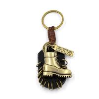 Брелки для ключей, цинковый сплав, с Шнур из натуральной кожи, Обувь, Покрытие под бронзу старую, с письмо узором, 35x110mm, 2пряди/Лот, продается Лот