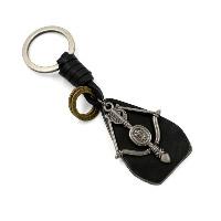Брелки для ключей, цинковый сплав, с Шнур из натуральной кожи, Другое покрытие, 36x56mm, 120mm, 3пряди/Лот, продается Лот