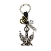 Брелки для ключей, цинковый сплав, с Шнур из натуральной кожи, Орел, Другое покрытие, с письмо узором, 40x125mm, 3пряди/Лот, продается Лот