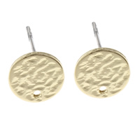 Серьги из цинкового сплава, цинковый сплав, нержавеющая сталь гвоздик, Плоская круглая форма, плакирован золотом, не содержит свинец и кадмий, 10x1mm, отверстие:Приблизительно 0.5mm, 200ПК/сумка, продается сумка