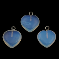 Опаловые кулоны, Морской опал, с кулон из цинкового сплава, Сердце, Платиновое покрытие платиновым цвет, 15x18x4.50mm, отверстие:Приблизительно 1.5mm, 5ПК/сумка, продается сумка
