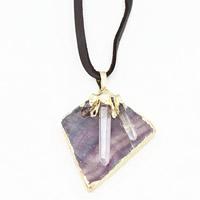Красочные флюорита Свитер ожерелье, с железный обруч & Искусственная кожа & Чистый кварц & Латунь, плакирован золотом, Женский, 35x700mm, длина:Приблизительно 27.5 дюймовый, 3пряди/сумка, продается сумка