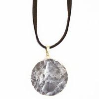 Красочные флюорита Свитер ожерелье, с железный обруч & Искусственная кожа & Латунь, Плоская круглая форма, плакирован золотом, Женский, 30x700mm, длина:Приблизительно 27.5 дюймовый, 3пряди/сумка, продается сумка