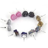 Ледниковый кварц-агат Сережка-гвоздик, с Пластиковые вилки для ухи & Латунь, нержавеющая сталь гвоздик, плакирован серебром, druzy стиль & Женский, разноцветный, 10mm, 3Пары/сумка, продается сумка