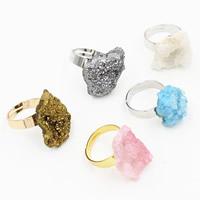 Ледниковый кварц-агат Открыть палец кольцо, с Латунь, Другое покрытие, druzy стиль & регулируемый & Женский, разноцветный, 20mm, размер:6.5, 3ПК/сумка, продается сумка