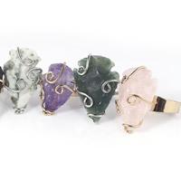 Полудрагоценный камень Открыть палец кольцо, с Латунь, Другое покрытие, регулируемый & Женский, разноцветный, 25mm, размер:6-10, 3ПК/сумка, продается сумка