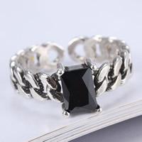 Кольца из агата, Латунь, с Черный агат, плакированный цветом под старое серебро, с 925 логотипом & Женский, не содержит свинец и кадмий, 16mm, размер:5.5, продается PC