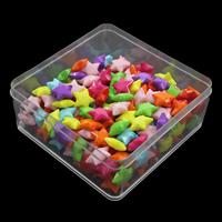 акриловые кулоны, Акрил, с пластиковая коробка, Звезда, ровный цвет, разноцветный, 95x95x41mm, отверстие:Приблизительно 1mm, 150G/Box, продается Box