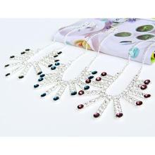 Ожерелье Мода Choker, цинковый сплав, плакирован серебром, Овальный цепь & Женский, Много цветов для выбора, не содержит свинец и кадмий, 280x165x55mm, Продан через Приблизительно 11 дюймовый Strand