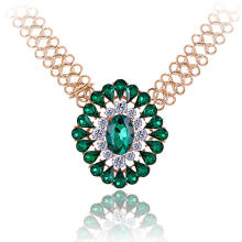 Ожерелье из кристаллов, цинковый сплав, с Кристаллы, плакирован золотом, Византийский цепь & Женский & граненый, Много цветов для выбора, не содержит свинец и кадмий, 326x70x62mm, Продан через Приблизительно 12.5 дюймовый Strand