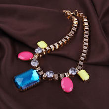 Кристалл ожерелье с цинковым сплавом, цинковый сплав, с Кристаллы, плакирован золотом, Цепной ящик & Женский & граненый, Много цветов для выбора, не содержит свинец и кадмий, 243mm, Продан через Приблизительно 19 дюймовый Strand