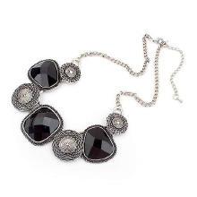 Акриловые ожерелья, цинковый сплав, с Акрил, плакирован серебром, твист овал & Женский & граненый, не содержит свинец и кадмий, 430x155x35mm, Продан через Приблизительно 16.5 дюймовый Strand