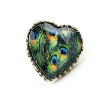 цинковый сплав Открыть палец кольцо, Сердце, античная латунь цвет покрытием, Женский & Термоаппликации, не содержит свинец и кадмий, 28x27mm, размер:6-10, продается PC