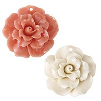 Подвески из смолы, канифоль, Форма цветка, Много цветов для выбора, 38.50x37x13mm, отверстие:Приблизительно 2mm, продается PC