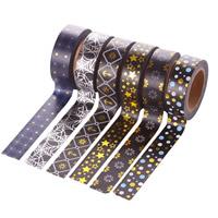 бумага Декоративные ленты, Круглая форма, липкие & различные модели для выбора & бронзирование, 15mm, 10ПК/сумка, Приблизительно 10м/PC, продается сумка