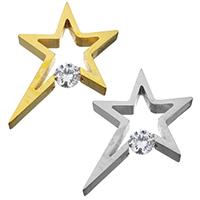 Подвески из циркония, нержавеющая сталь, Звезда, Другое покрытие, с кубическим цирконием, Много цветов для выбора, 28x30x6mm, отверстие:Приблизительно 3mm, 5ПК/Лот, продается Лот