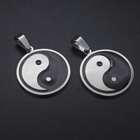 титан подвески, Плоская круглая форма, Тай Цзи & эмаль, 26x26mm, отверстие:Приблизительно 3-5mm, продается PC