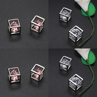 титан подвески, с кубический цирконий, Куб, Много цветов для выбора, 11x11mm, отверстие:Приблизительно 5-8mm, продается PC