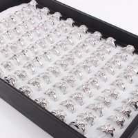 Кубический циркон микро проложить кольцо-латунь, Латунь, Тигр, покрытый платиной, инкрустированное микро кубического циркония & Женский, не содержит свинец и кадмий, 16-18mm, размер:5.5-7, продается PC