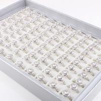 Кубический циркон микро проложить кольцо-латунь, Латунь, покрытый платиной, инкрустированное микро кубического циркония & Женский, не содержит свинец и кадмий, 16-18mm, размер:5.5-7, продается PC