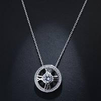 Кубический циркон микро проложить латуни ожерелье, Латунь, Плоская круглая форма, плакированный настоящим серебром, Овальный цепь & инкрустированное микро кубического циркония & Женский, не содержит свинец и кадмий, 400mm, Продан через Приблизительно 15.5 дюймовый Strand
