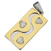 акриловые кулоны, нержавеющая сталь, с Акрил, Прямоугольная форма, Другое покрытие, двухцветный, 18x39x3.50mm, отверстие:Приблизительно 5x8mm, продается PC