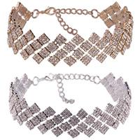 Ожерелье Мода Choker, цинковый сплав, с 5.5Inch наполнитель цепи, Другое покрытие, Женский & со стразами, Много цветов для выбора, не содержит никель, свинец, 25mm, Продан через Приблизительно 10.6 дюймовый Strand