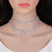 Ожерелье Мода Choker, цинковый сплав, с 5.5Inch наполнитель цепи, Платиновое покрытие платиновым цвет, Женский & со стразами, не содержит никель, свинец, 30mm, Продан через Приблизительно 11 дюймовый Strand