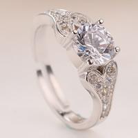 Латунь Открыть палец кольцо, плакированный цветом под старое серебро, регулируемый & инкрустированное микро кубического циркония & Женский, не содержит свинец и кадмий, 16-18mm, размер:6-8, продается PC