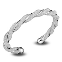 Латунь браслет-манжеты, плакированный настоящим серебром, открыть & Женский, не содержит свинец и кадмий, 70x8mm, внутренний диаметр:Приблизительно 55mm, длина:Приблизительно 6.5 дюймовый, продается PC