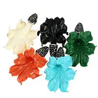 Подвески из смолы, канифоль, с клей, Форма цветка, Много цветов для выбора, 33-35x48-50x14-16mm, отверстие:Приблизительно 0.5mm, 10ПК/сумка, продается сумка