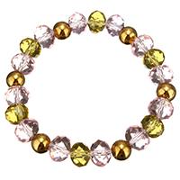 Кристалл браслеты, Кристаллы, с нержавеющая сталь, плакирован золотом, Женский & граненый, 8mm, 8x10mm, Продан через Приблизительно 7 дюймовый Strand