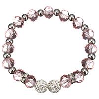 Кристалл браслеты, Кристаллы, с Горный хрусталь глины проложить шарик & нержавеющая сталь, Женский & граненый, светло-розовый, 10mm, 8x10mm, Продан через Приблизительно 8 дюймовый Strand