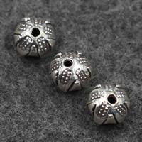 Бусины из настоящего балийского серебра, Таиланд, Круглая, 7x9mm, отверстие:Приблизительно 1mm, продается PC